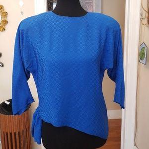 VTG Cobalt Blue Shimmery Silk Aysymmetrical Blouse